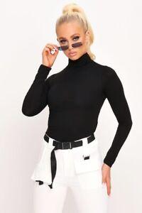 Womens-Long-Sleeve-Polo-Neck-Bodysuit-Ladies-High-Roll-Neck-Leotard-T-Shirt-8-26