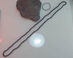 Collier De Perles De Culture Eau Douce Foncé Violet 118 Cm Long + Bracelet (360)-afficher Le Titre D'origine