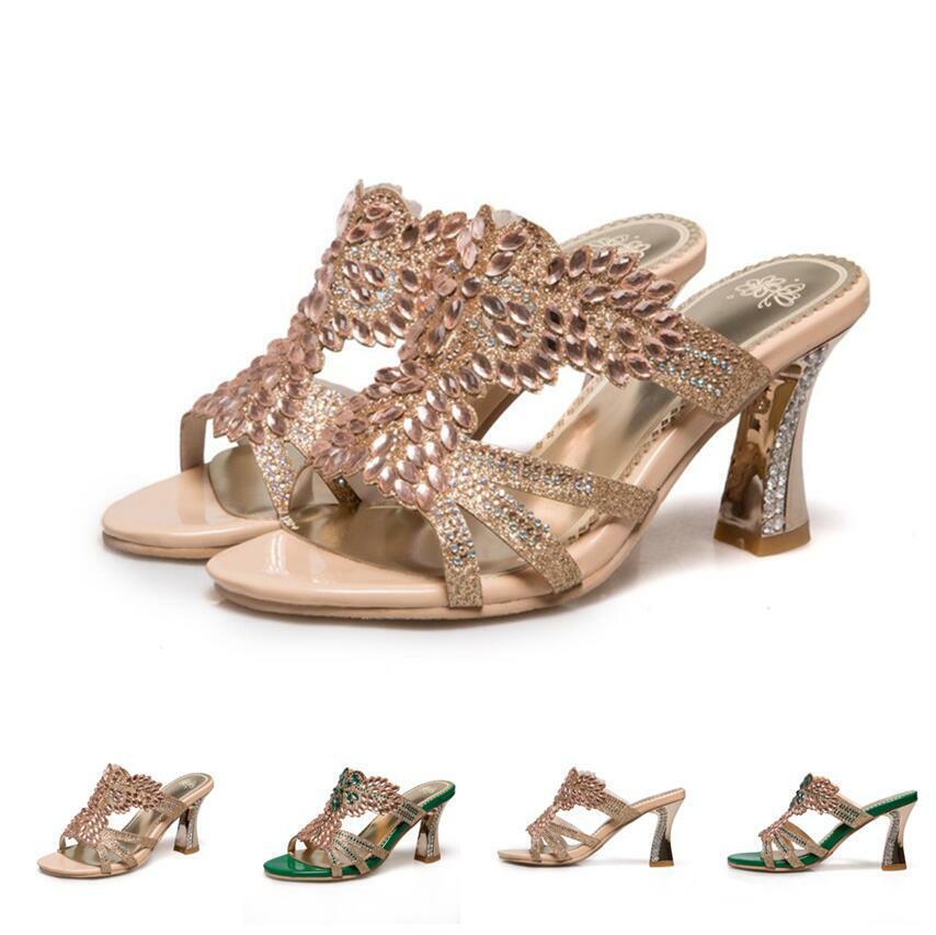 Chaussures femmes Sandales Strass skulptiert Glissehommest Talons Hauts Mules dehommedé