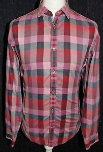 TED-BAKER-London-Mens-Muti-Coloured-Check-Long-Sleeved-Shirt-Size-5-XL