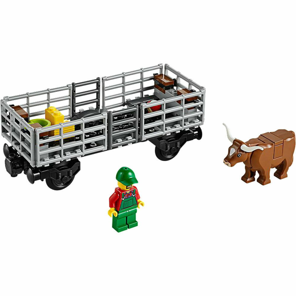 Lego City Cargo Freight Train Railway Cow Cattle Wagon Town from Set 60052 - NEW