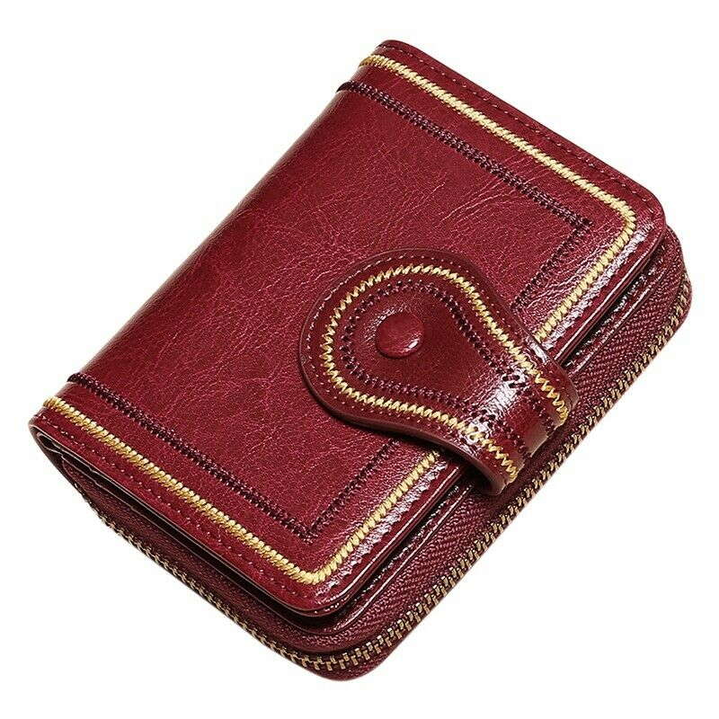 Ladies Leather Wallet Handmade Soft Leather Short Wallet Tassel Coin Purse M1F7