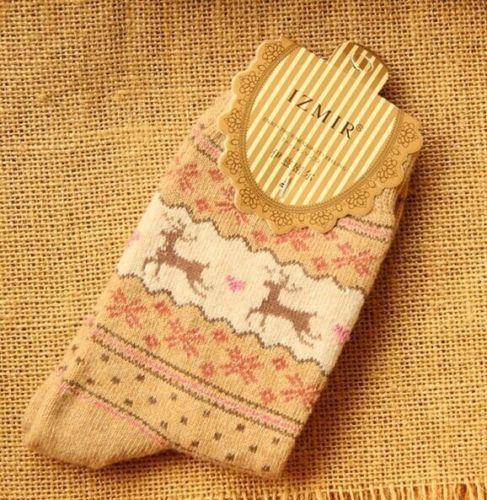 Xmas Women Winter Socks Christmas Gift Warm Wool Sock Snowflake Deer Comfortable
