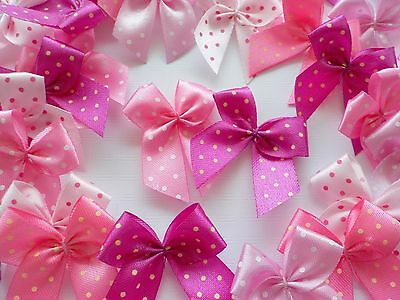 50! Polka Dot Bows - Pretty All Pink Colour Mix Bow Embellishments - Cardmaking!