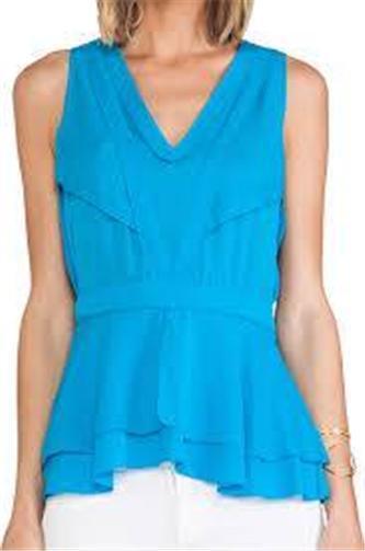 DVF Diane Von Furstenberg TALISHA Tierot Silk Blouse Top Laguna Beach Blau
