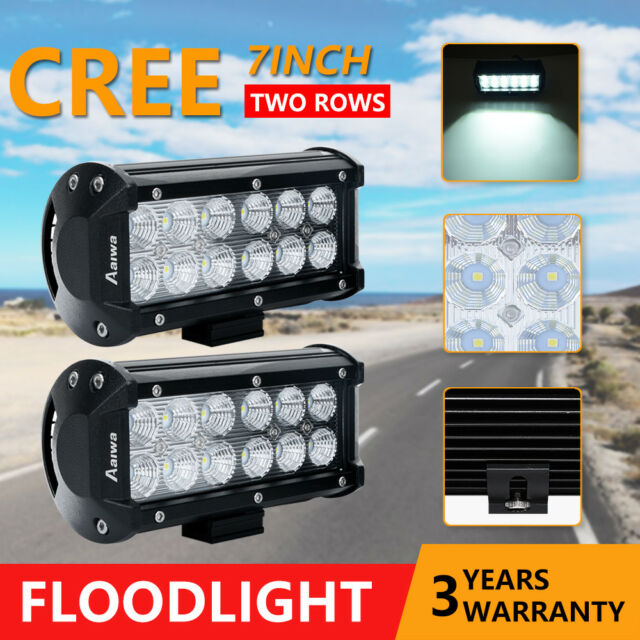 Pair 7inch CREE LED Work Light Bar Flood OffRoad Driving 4WD 4x4 Reverse Truck