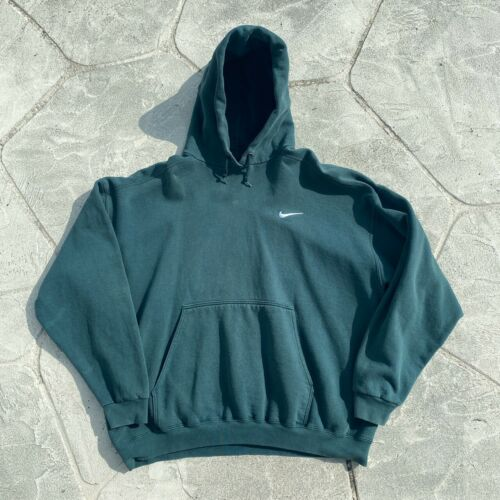Vintage 90s Nike Swoosh Forest Green Pullover Hood