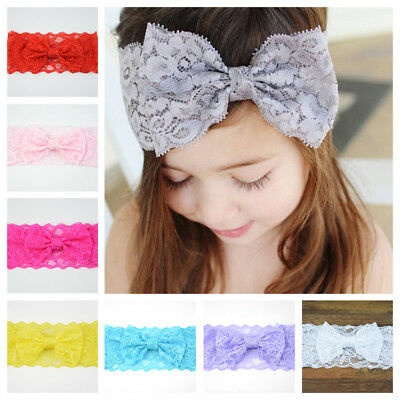Baby Kids Hair Band Headband Cloth Head Scarf Lace Bow Wrap Wholesale Girl UK