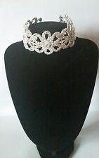 Declaración Grueso De Plata Flor Diamantes De Imitación Diamante Grande Collar Gargantilla
