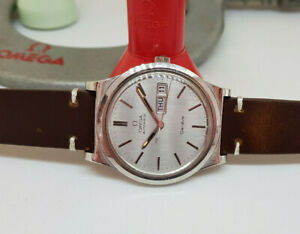 VINTAGE-1975-OMEGA-GENEVE-GREY-DIAL-DAYDATE-AUTOMATIC-CAL-1022-MAN-039-S-WATCH