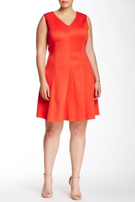 Mod A Mix By Brandon Thomas Red orange Pleated Scuba Dress - Size 3X - C421
