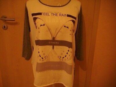 0rsay Cooles Damenshirt/bluse Gr. L Grau Beige 3/4 Arm Schriftmotiv