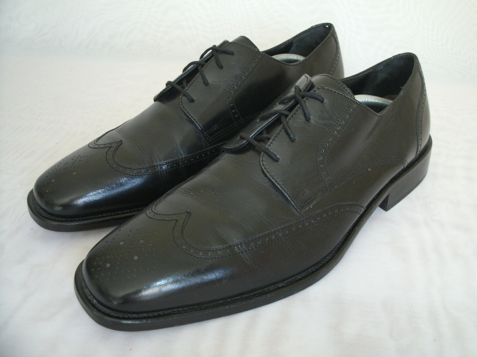 BOSTONIAN WINGTIP BLACK LEATHER OXFORD DRESS SHOES   SIZE US 11.5 MEN'S