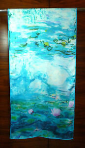 Long-silk-twill-scarf-Print-of-Monet-039-s-Water-Lilies-Blue-pink-white-NEW