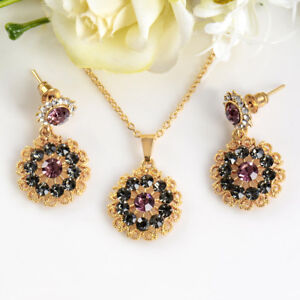 Fashion-Gold-Plated-Crystal-Pendant-Chain-Necklace-Earrings-Flower-Jewelry-Sets