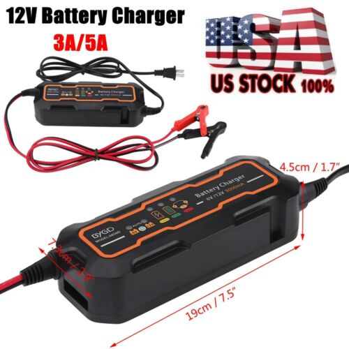 6V//12V 3A//5A Smart Car Battery Charger and Maintainer /& Desulfator Waterproof