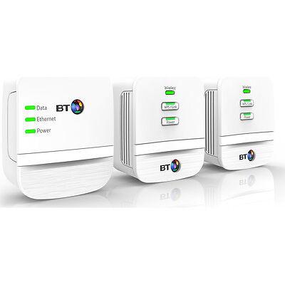 BT Mini Home Hotspot 600 Wireless Powerline Adapter Kit White Triple Pack