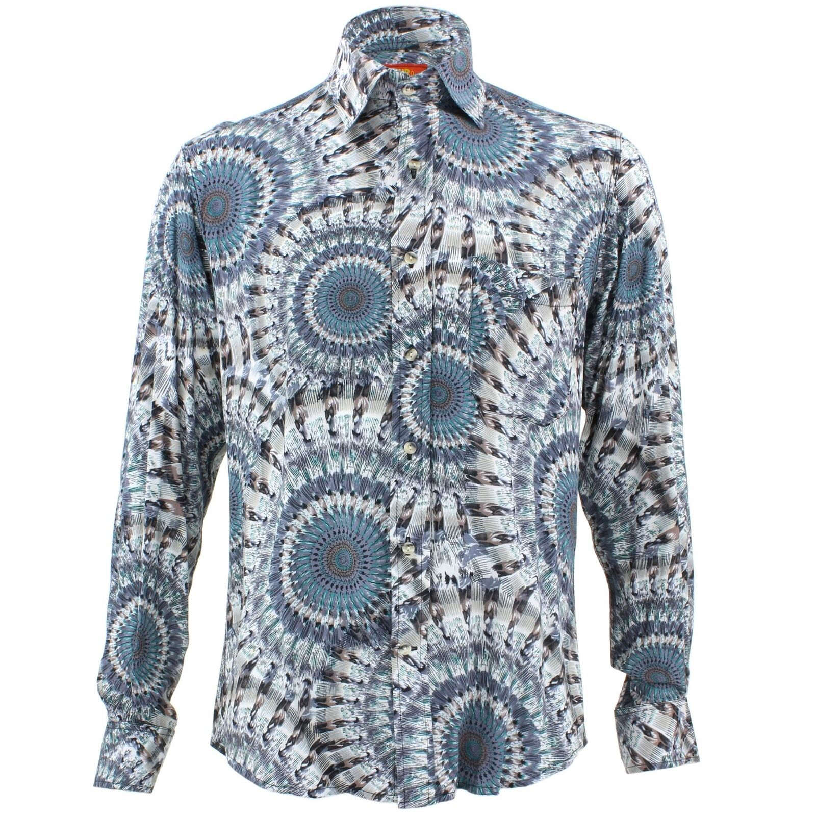 Men's Loud Shirt Retro Psychedelic Funky Party TAILORED FIT bluee Rings Circles