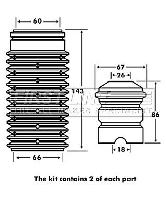 ALFA ROMEO 156 932B21 2.0 Shock Absorber Dust Cover Kit Rear 00 to 02 AR32310