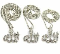 Silver Iced Out Muslim Islam Allah Pendent Rope,cuban,box Chain Necklace