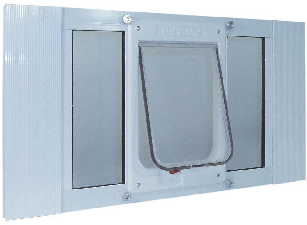 Ideal Pet Chubby Cat Sash Window Door bianca Aluminum Medium Flap 7.5 x 10.5 Inch