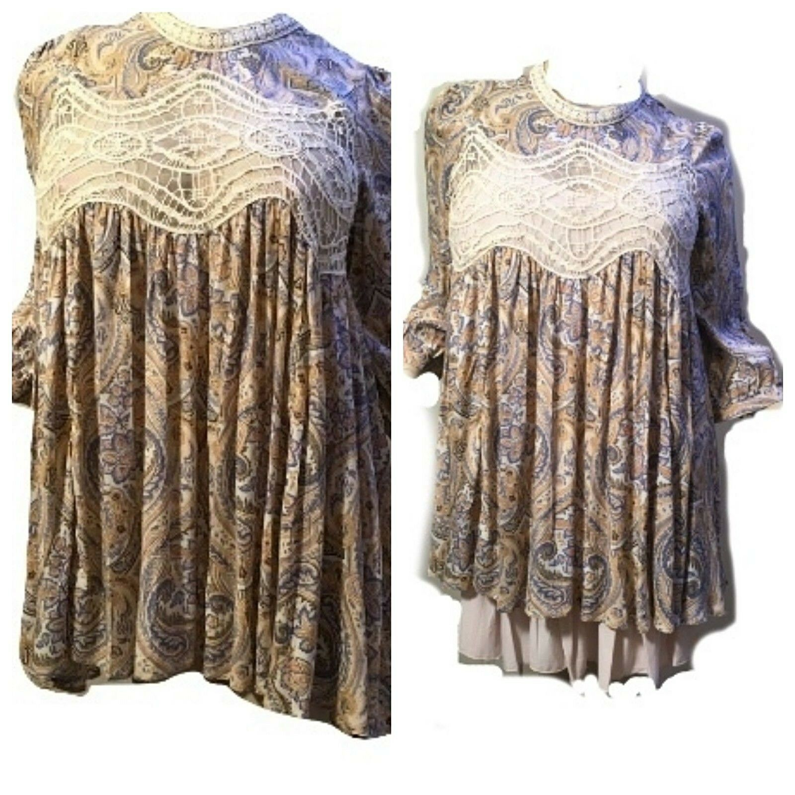 JODIFL Womens Size L Boho Embroidered Lace Bohemian 3 4 Sleeve Top Blouse Tunic