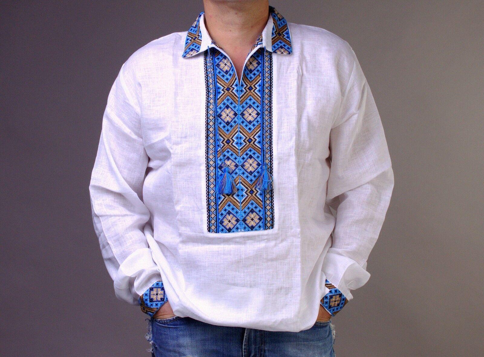 VYSHYVANKA Man Ukraine Embroidery LINEN White bluee shirt Polo collar S-4XL