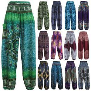 New-Ladies-Harem-Pants-Baggy-Bohemian-Boho-Hippie-Aladdin-Yoga-Genie-Trousers-HP