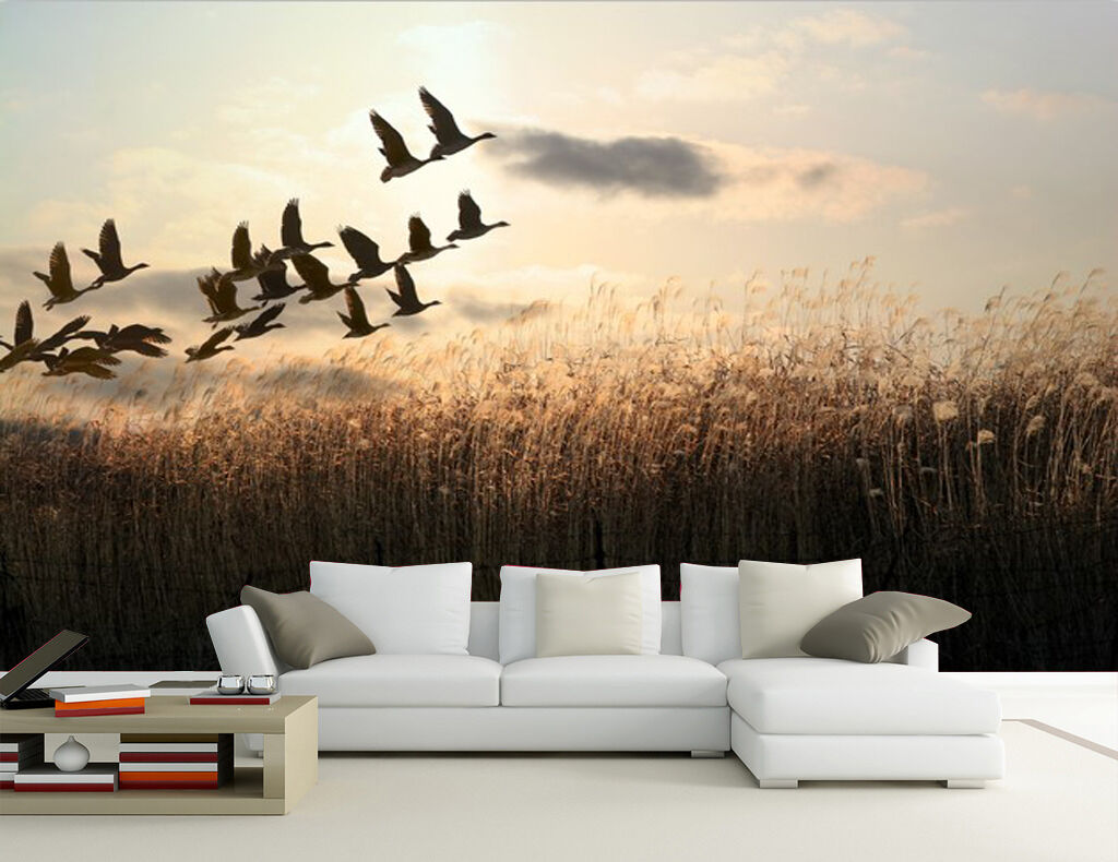 3D Reed Vögel 1116 Fototapeten Wandbild Fototapete Bild Tapete Familie Kinder
