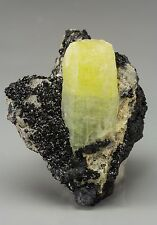 Lovely Yellow Ettringite with Hausmannite from Kalahari Region South Africa