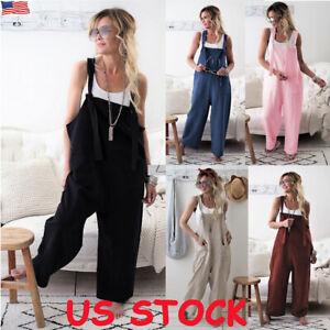 Women/'s Boho Floral Loose Cotton Linen Jumpsuit Harem Pants Trousers Overalls US