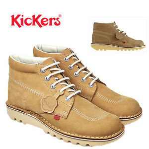 Kickers-Kick-Hi-M-Core-Homme-Bottines-a-Lacets-Decontractees-En-Cuir-Marron-Clair-Chaussures