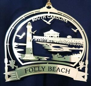 Folly-Beach-Brass-Ornament-South-Carolina-Pier-Morris-Island-Lighthouse-Gift