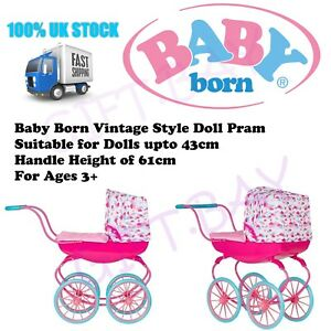 Baby Born Vintage Style Carriage Dolls Pram Toy Pushchair Buggy Kids Strollers 5050842353715