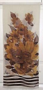 TERRIART-Brown-Caramel-Flowers-Stripes-SILK-66x14-Lg-Scarf-Vintage-Antoine