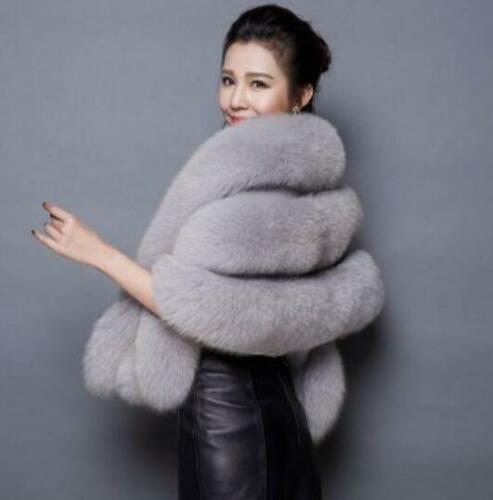 Kvinders Poncho Outwear Sjal Cape Fur Thicken Jacket Bridal Bryllup Faux Varmt gqFrg