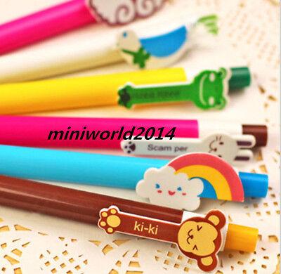 6PCS Cartoon Korean Stationery Colorful Rainbow Ball Point Pen-0.5mm,Blue  Ink