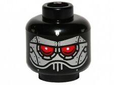 LEGO - Minifig, Head Alien with Evil Robot Silver & Red Eyes - Black