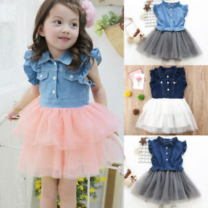 e56e91d310e Image is loading Kids-Toddler-Baby-Girl-Summer-Denim-Tulle-Wedding-
