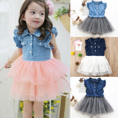 Kids Toddler Baby Girl Summer Denim Tulle Wedding Party Ball Princess Tutu Dress