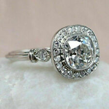 Art Deco 3 Ct Diamond Ring Vintage Antique Wedding Ring 14K White Gold Over