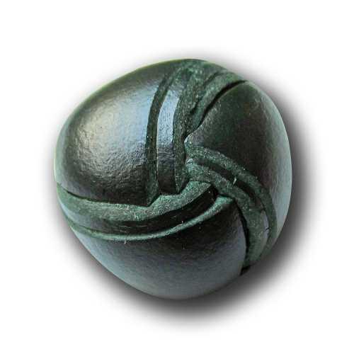5 grüne kunstvoll geflochtene Halbkugel Knöpfe aus echtem Leder l050gr
