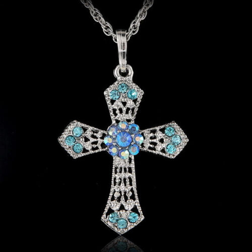 HOT Silver Jewelry CROSS Crystal Pendant Sweater Chain Necklace Women Gift nb