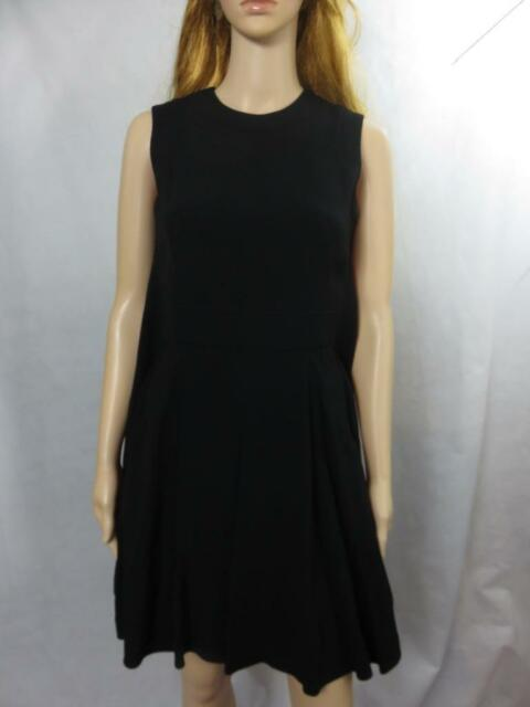 aec87675a3776e NEW Alexander McQueen Black Sleeveless Trapeze Dress Pleated Size 38 NWT  $1965