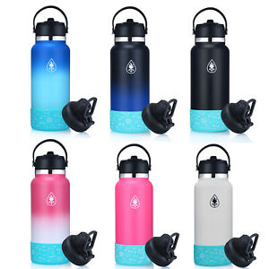 32Oz-Hydro-Stainless-Steel-amp-Vacuum-Insulated-Flask-Water-Bottle-With-Straw-Lid
