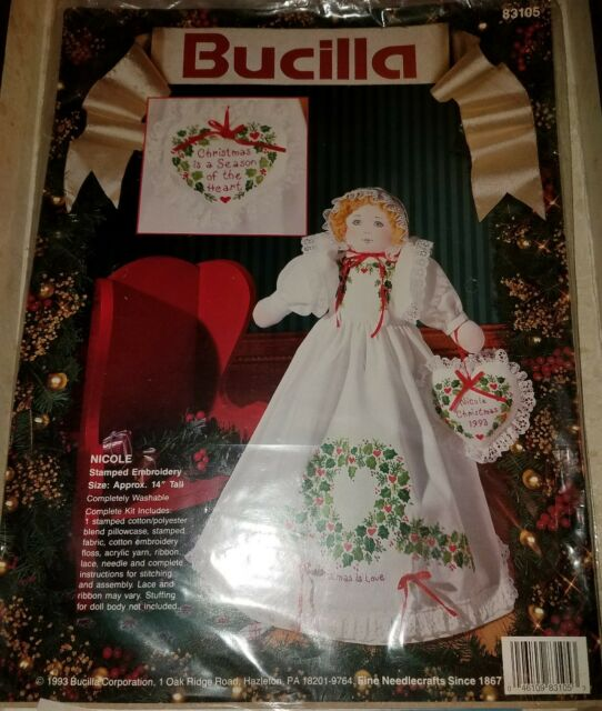 Bucilla Stamped Embroidery Nicole Angel Kit 83105 Christmas Doll