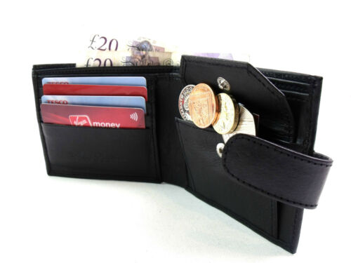 Mens New High Quality Real Black Leather wallet Coin pouch Credit Card Holder