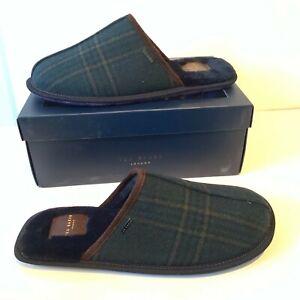 TED-Baker-Mule-Pantofole-Dimensione-UK-11-amp-12-Check-Verde-Scuro-in-Pelle-Scamosciata-Mocassini-in