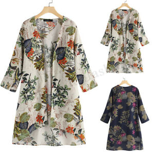 Women-039-s-Open-Front-Cardigan-Casual-Floral-Print-Loose-Asymmetrical-Jacket-Coat