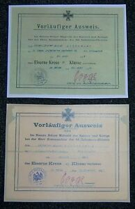GERMAN-Small-Iron-Cross-1st-amp-2nd-Class-Award-Certs-Named-to-Same-Soldier
